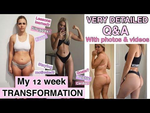 12 WEEK TRANSFORMATION – week one workout video vs week 12 – detailed Q&A