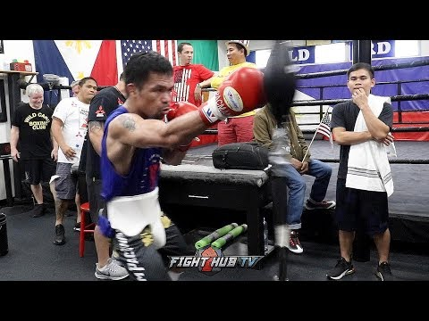A SNEAK PEAK OF MANNY PACQUIAO'S WORKOUT FOR KEITH THURMAN FIGHT