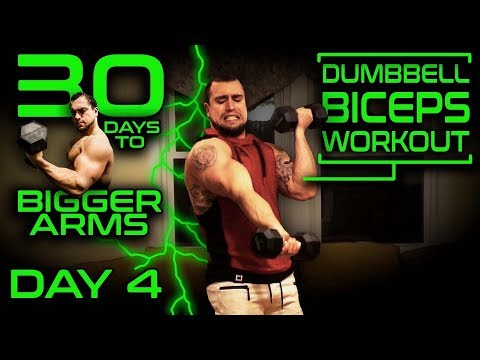 Intense Dumbbell Biceps Workout Video | 30 Days of Dumbbell Workouts At Home for Bigger Arms Day 4