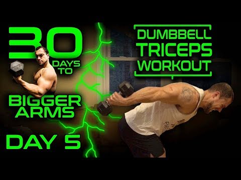 Intense Dumbbell Triceps Workout Video | 30 Days of Dumbbell Workouts At Home for Bigger Arms Day 5
