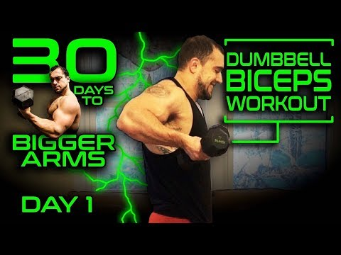 Intense Dumbbell Biceps Workout Video | 30 Days of Dumbbell Workouts At Home for Bigger Arms Day 1