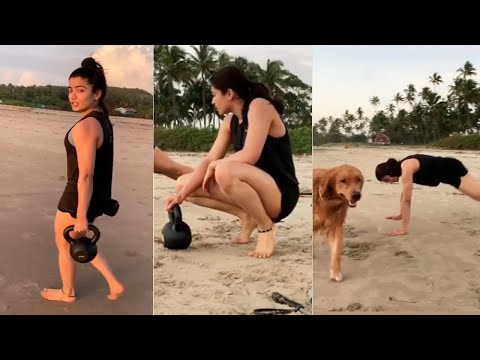 Actress Rashmika Mandanna Beach Workout Video | MS Entertainments