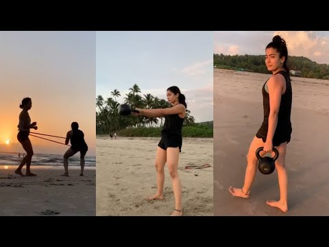 Tollywood beauty Rashmika Mandanna workout at beach | viral video | Telugu Trending
