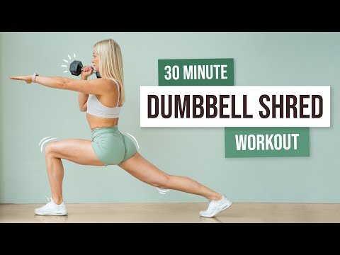 30 MIN FULL BODY DUMBBELL SHRED – Workout with weights – No Repeat Exercises